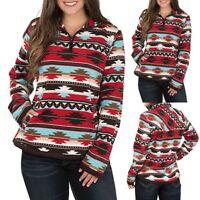 Women's Plus Size Long Sleeve African Geometric Print Zipper Pocket T-shirt Top