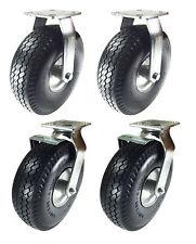 8 X 2 12 Pneumatic Wheel Caster Set Foam Flat Free Rigid Swivel And Brake