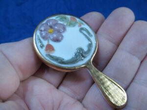 """Vintage Art Nouveau Style Bisque Miniature Floral Hand Mirror 2 7/8"""""""