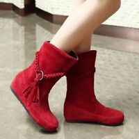 Women Bohemian Tassel Suede Ankle Boots Pull on Hidden Wedge Autumn Casual Shoes