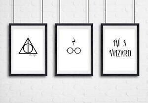Set of 3 Harry Potter Prints Kids Bedroom Wall Art - UNFRAMED A3 A4 A5 Posters