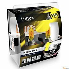 2x H9 Lunex PLASMA GOLD 2800K 65W 12V Lampadine Faro Alogene PGJ19-5 Hard Case