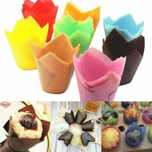 100Pcs Large Tulip Muffin Cases Cupcake/muffin Wraps Multiple Colours Wrapper UK