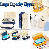 Large Capacity Zipper Pencil Case Pen Pouch Bag Office Student Canvas Stationery