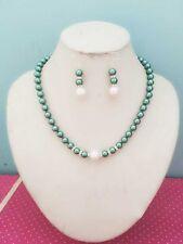 8MM Dark Green  South Sea Shell Pearl necklace earrings set AAA Grade  V16
