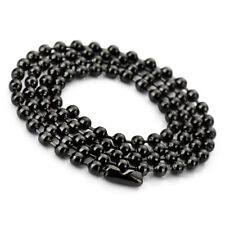 T49 3.2mm Large Stainless Steel Ball Pearl Necklace Chain Link Man Black, Length