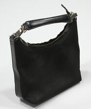 Gucci Authentic Black Nylon & Leather Trim Small Italy Clutch Tote Bag