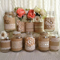 Wedding Party Decor Rustic Vintage Lace Edged Jute Hessian Burlap Ribbon Roll X9