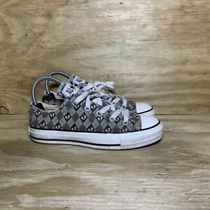 Converse All Star Shoes Women's Size 6 Broken Hearts Taupe Low Top Sneakers