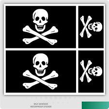 4 x Jolly Roger Pirate Flag Self-Adhesive Vinyl Car Van iPad Laptop Sticker