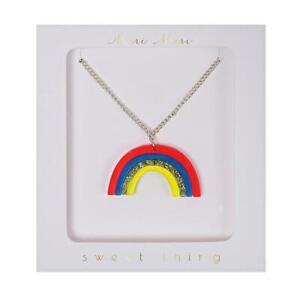 Meri Meri Acrylic Rainbow Necklace with Tassel & Silver Tone Chain