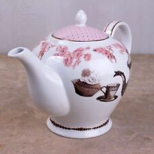 Katie Alice Porcelain 6 Cup Cupcake Teapot in Pretty Oval Printed Hat Gift Box