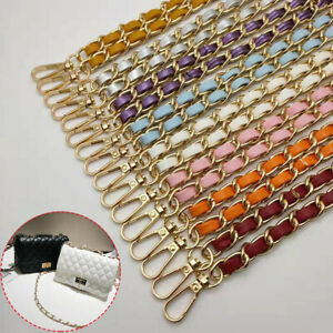 New PU Leather Metal Shoulder Bag Braid Chain Replacement Strap Cross Body Belt