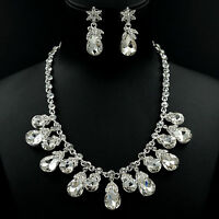 Silver Plated Clear Crystal Necklace Earrings Bridal Wedding Jewelry Set 05979