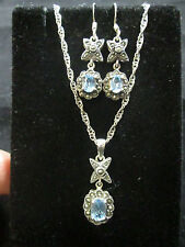 VINTAGE STERLING SILVER TOPAZ NECKLACE AND EARRING SET
