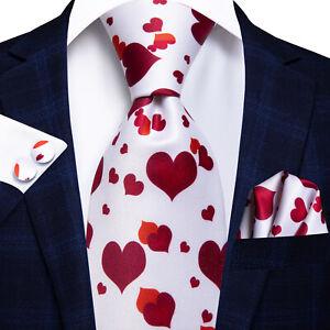 Mens Silk Tie Necktie Set Hankie Cufflinks White Red Heart Valentine's Day Party