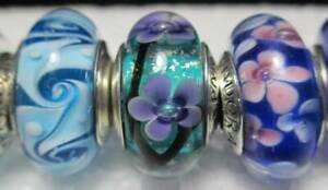 3 Pandora Silver 925 Ale Glass Bead Blue Swirly Teal Plum Pink Mixed Daisy Field