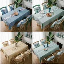 Rural Embroidered Stone/Flower Tablecloth Dining Room Polyester Table Cloth