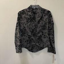Equestrian Santa Barbara Black Gray Velvet Floral Detail Jacket Size M
