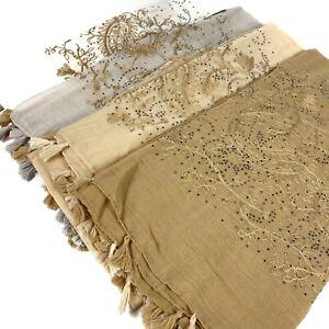 Tassel Diamond Embroidery Scarf Hijab Sarong Large Cotton Maxi Shawl Wrap Maxi