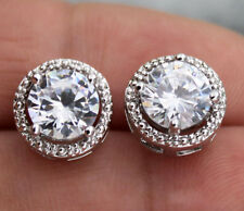 18K White Gold Filled - Round White Topaz Hollow Lady Wedding Stud Gems Earrings