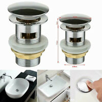 Chrome Basin Waste Sink Tap Push Button Pop Up Plug Slotted Modern Click Clack