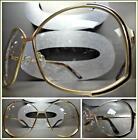 OVERSIZED VINTAGE 70s RETRO Style Clear Lens EYE GLASSES Huge Gold Fashion Frame
