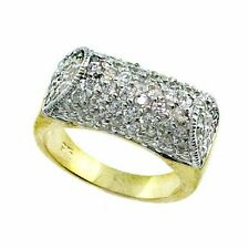 18K Gold over 925 Silver CZ Dome Ring Size 8