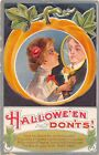 c.1911 Lady with Magic Mirror & Candlestick Halloween Don'ts post card Jackson