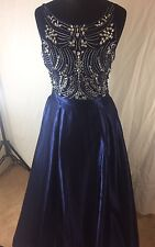 New Quiz blue size 10 embellished maxi prom party bridesmaid dress