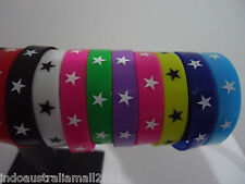 5 x Mixed Color Wrist Bands with Stars Printed Silicone Rubber 5 Colors 310316