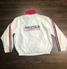 Nautica Competition Men's Nylon Windbreaker Rain Jacket Black Red White Vintage