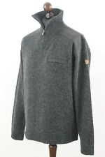 FJALLRAVEN Mens Koster Sweater Jumper 100% Wool Grey sz XL Chest Pocket Outdoor