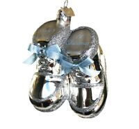 Noble Gems Ornament Silver Blue Boy Baby 1st Christmas Shoes Glass Kurt Adler