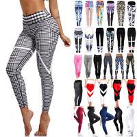 US Women Yoga Gym Stretch Trousers Leggings Fitness Jogging Running Sports Pants