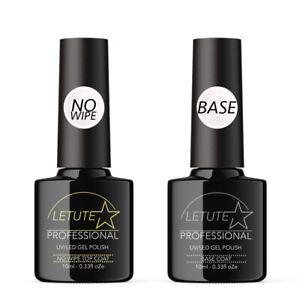 No Wipe Top and Base Coat LETUTE™ Soak Off UV/LED Nail Gel Polish