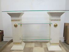 Versace logo hall table/tv unit in off white with gold medusa logos