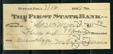 US THE FIRST STATE BANK OF PUTNAM, OKLAHOMA CANCELLED CHECK 7/16/1926 AS SHOWN