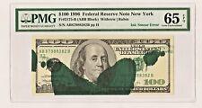 $100 1977 New York Frn Massive Ink Smear On Face Error Pmg Gem Unc 65 Epq !