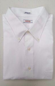 IZOD Big and Tall Men's Regular Fit Button Down Dress Shirt, White