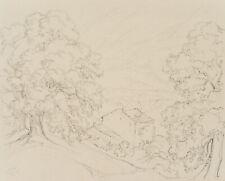 DE BRETENIÈRE (1804-1882), Blick über Haus in Stalden VS, Schweiz, 1838, Zchng