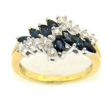 Ladies/womens 18ct gold ring set with sapphires and diamonds, UK size H 1/2