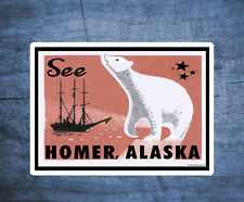 "Homer Alaska Decal Sticker 4"" x 2.8"" Inside Pass Vintage Old Style 4"""