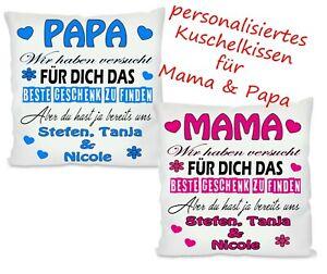 MAMA PAPA Personalisiertes Kissen,Geschenk, Fotokissen,Eltern,Kissen bedruckt