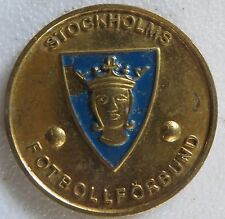 Vintage Sporrong Metal Medal Token Stockholm fotbollförbund Shield Crowned Image