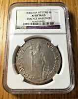 1836 MT Peru 8 reales silver republic DOUBLE STRUCK ERROR ngc XF AU crown LIMA