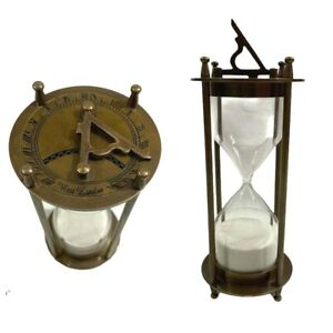 """Vintage Hourglass Nautical Maritime Decorative Brass Sand Timer 6"""" with Sundial"""