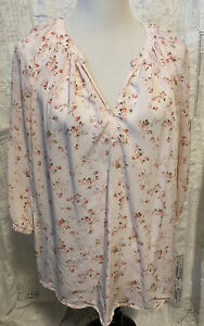 Cynthia Rowley Blouse 2X Pink Cottage Roses 3/4 Sleeves