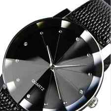 Luxury Men's Sport Military Leather Band Stainless Steel Dial Quartz Wrist Watch
