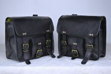Motorcycle Side Saddlebags Pouch Black Leather Side Pouch Saddle Panniers 2Bags